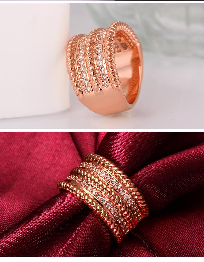 R057-B High Quality Nickle Free Antiallergic New Fashion Jewelry 18K Plated zircon Ring NHKL6758-B-8