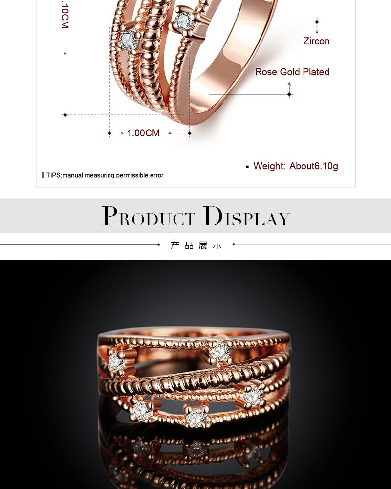 R097-B-8 High Quality Nickle Free Antiallergic New Fashion Jewelry 18K Plated zircon Ring NHKL6796-B-7