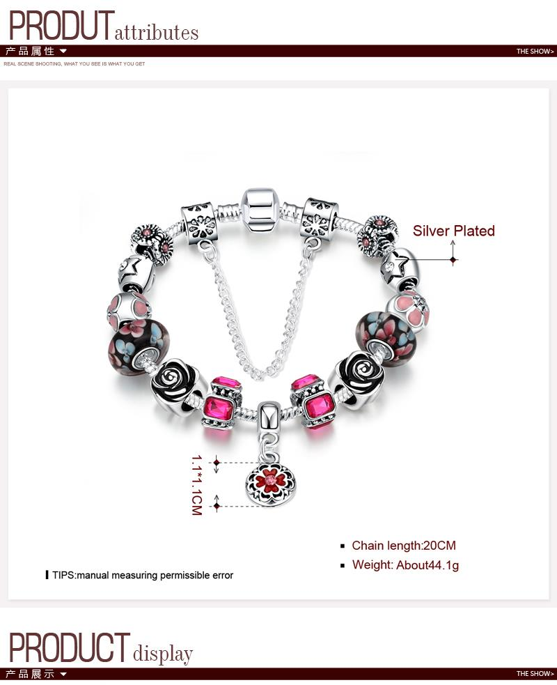 H019 Colorful Imitated crystal European Beads with Red Murano Glass Beads fit Snake Chain NHKL9548