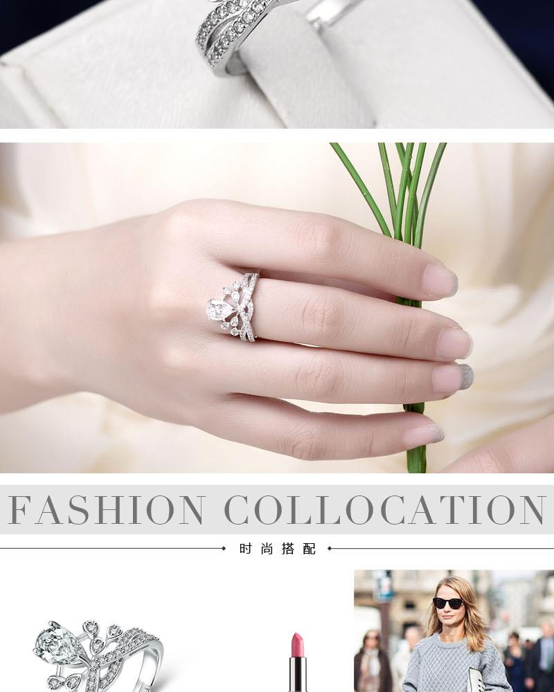 R001 Wholesale High Quality Nickle Free Antiallergic New Fashion Jewelry White Gold Plated Ring NHKL8542