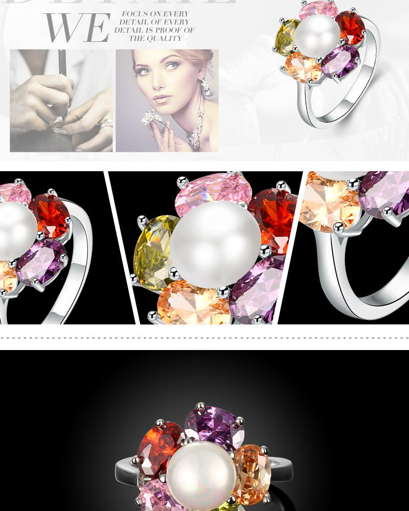 R412-A-8 High Quality Nickle Free Antiallergic New Fashion Jewelry White Plated zircon Ring NHKL7110-A-8
