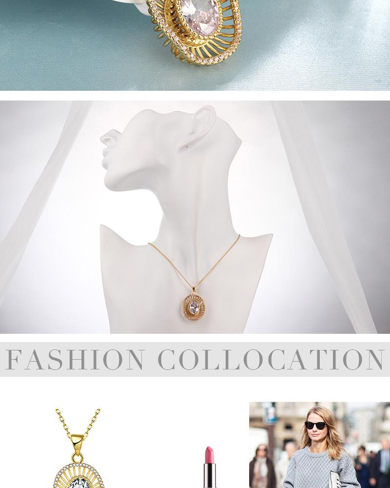 N136-A High Quality zircon necklace Fashion Jewelry Free shopping 18K alloy plating necklace NHKL6698-A