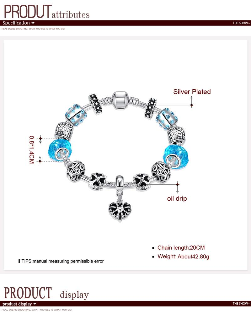 H033 Colorful Imitated crystal European Beads with Red Murano Glass Beads fit Snake Chain NHKL9562
