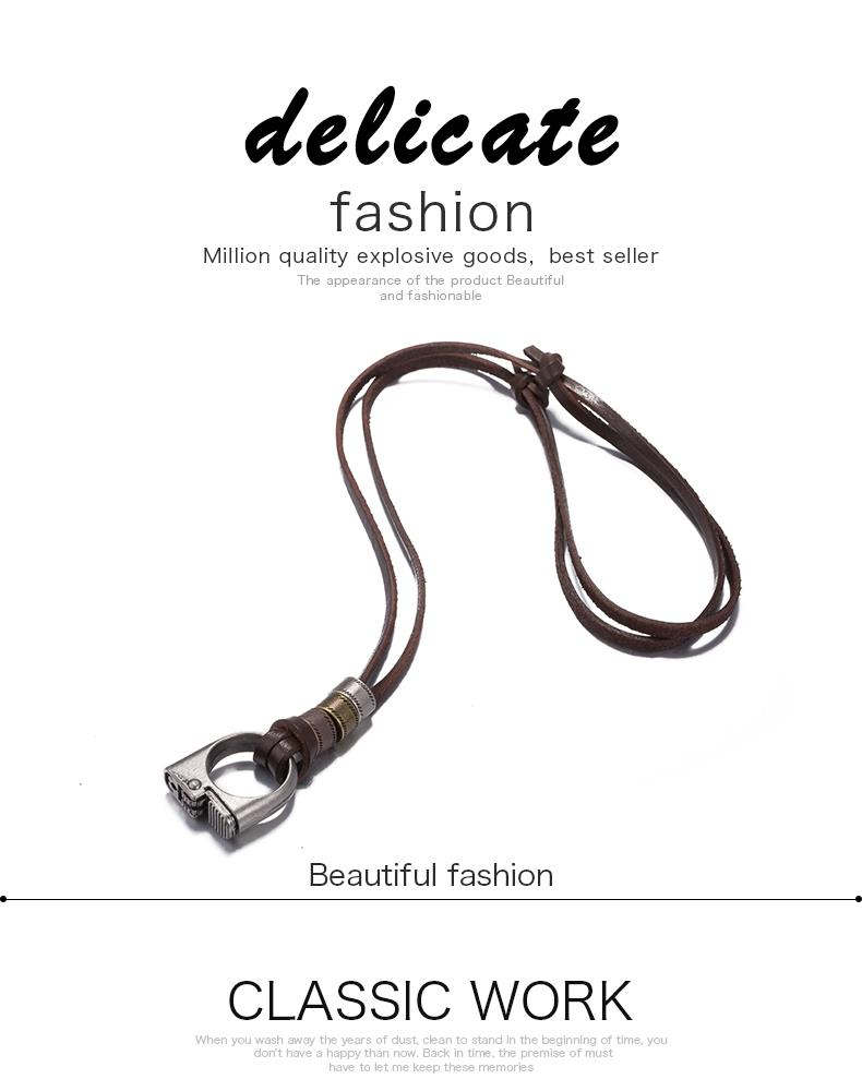 New Black Leather Cord Choker Charm Necklace Pendant Retro Hippy alloy FSN257 NHKL9084