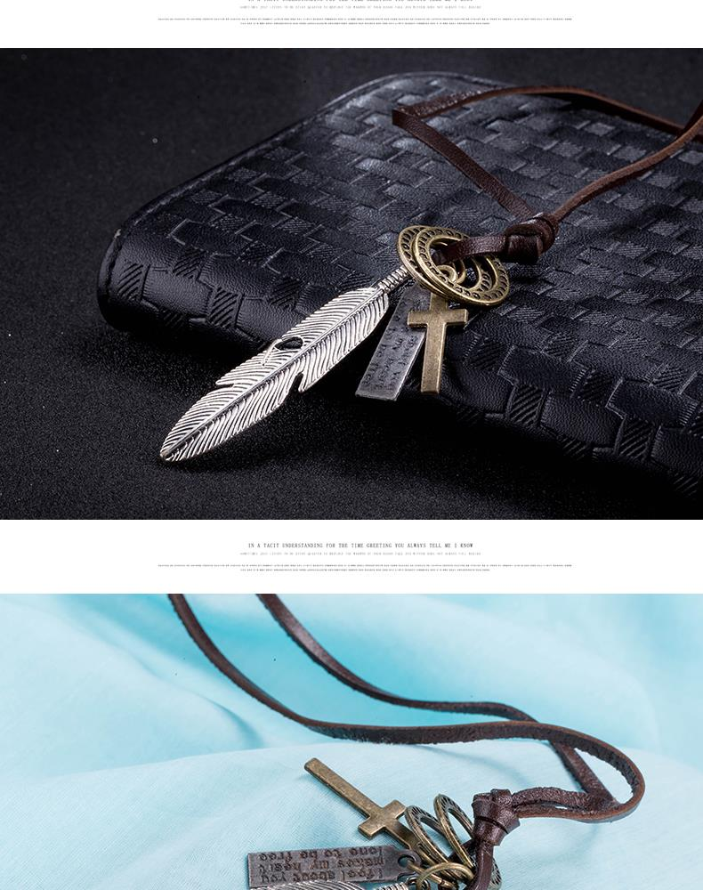 New Black Leather Cord Choker Charm Necklace Pendant Retro Hippy alloy FSN259 NHKL9086-B