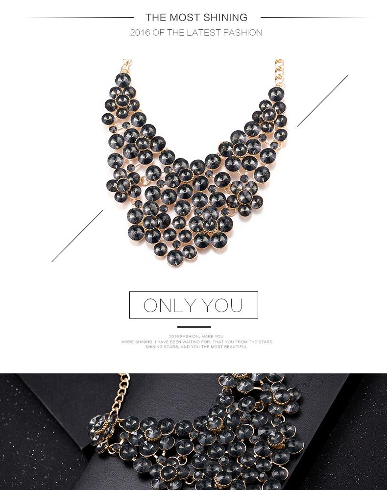 Fashion Women Jewelry Bib Imitated crystal Statement Pendant Chain Choker Collar Necklace FSN202 NHKL9032-E
