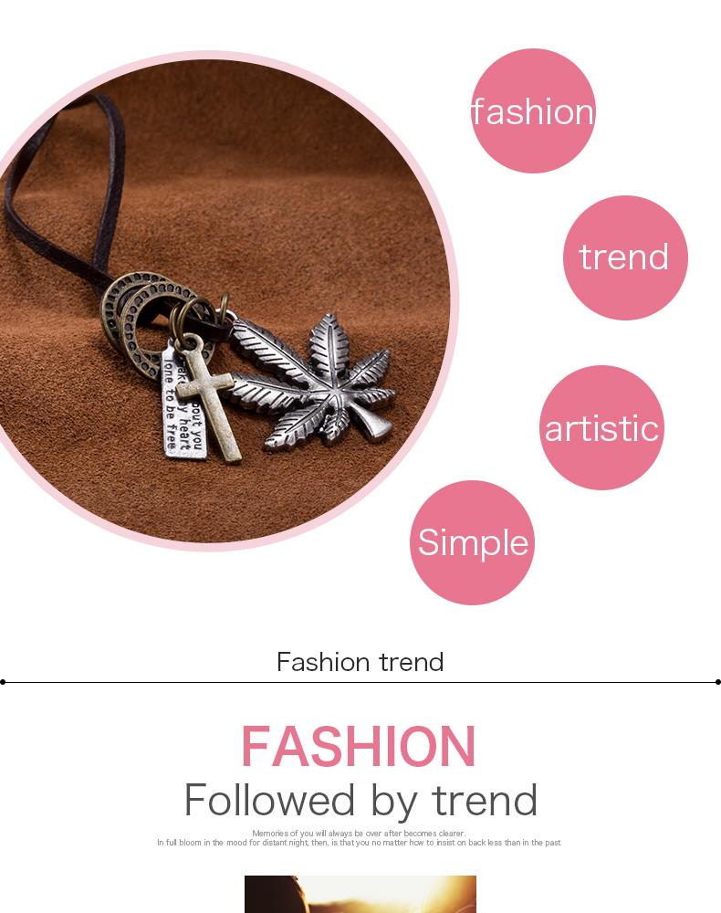 New Black Leather Cord Choker Charm Necklace Pendant Retro Hippy alloy FSN264 NHKL9091-B
