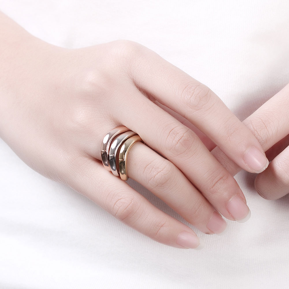 Simple Titanium Steel Couple Rings Gold/Rose Gold/Silver Plated ...