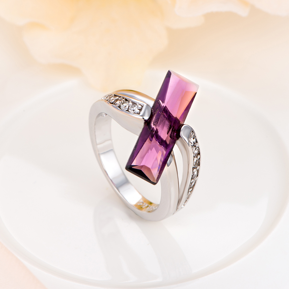 2017 classic fashion jewelry solitaire rings light purple