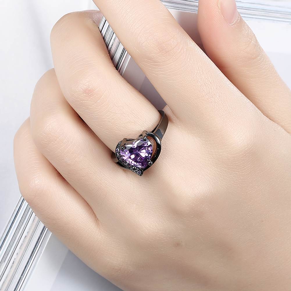 purple gold engagement ring com white pave halo blue rings heart amazon dp diamond wedding